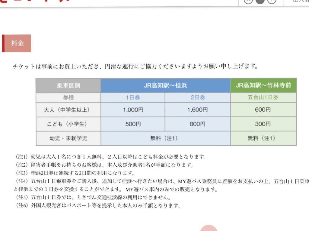 MY遊バス 料金表